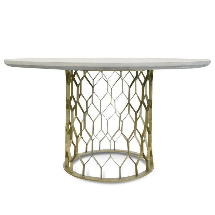 Charleston 1.4M Round Dining Table - Grey - Brass