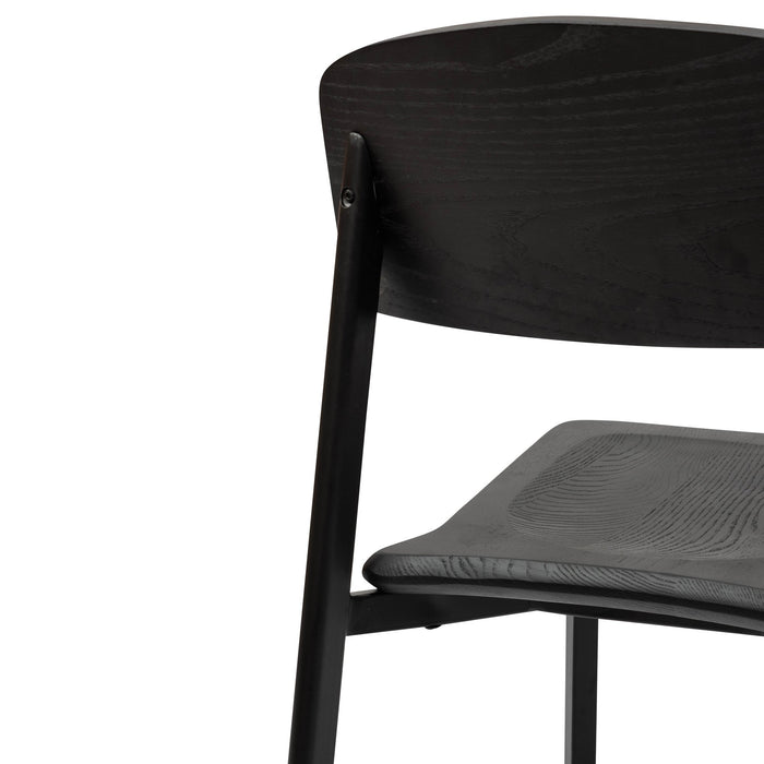 Chelsea Wooden Dining Chair In Matt Black - Black Seat