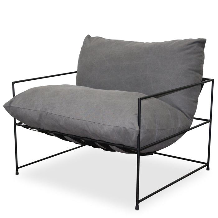 Chicago Canvas Fabric Armchair - Charcoal