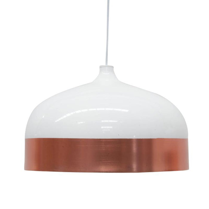 Clearance - Fontain Wide Pendent Lamp - Rose Gold - White