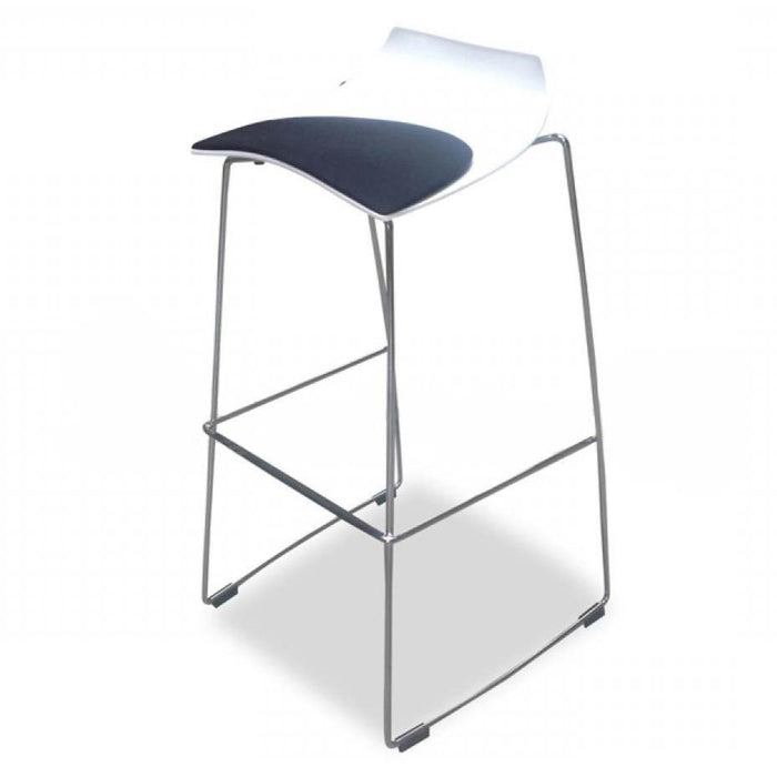 Clearance - Hoop 78cm Bar Stool With Black Seat - Marco Maran - White