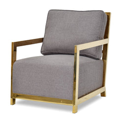 Clearance - Symond Golden Frame Lounge Chair - Grey Fabric Seat