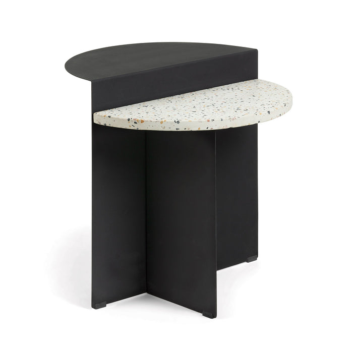 Cleary Metal Terrazzo Top Side Table - Black