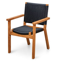 Corfu Teak Outdoor Chair - Black Wicker