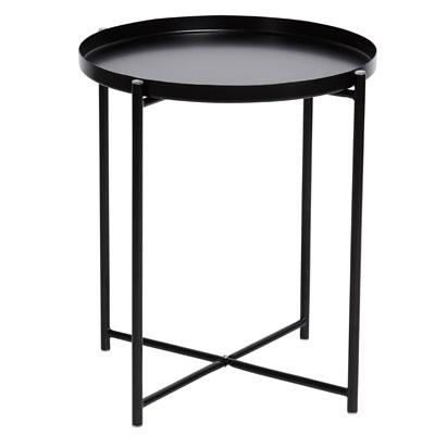 Cosmo Round Metal Tray Side Table - Black
