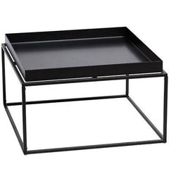 Cosmo 60cm Square Metal Tray Coffee Table - Black