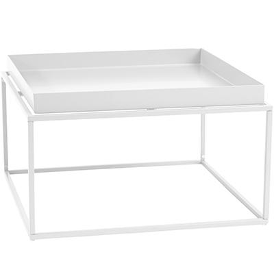 Cosmo 60cm Square Metal Tray Coffee Table - White