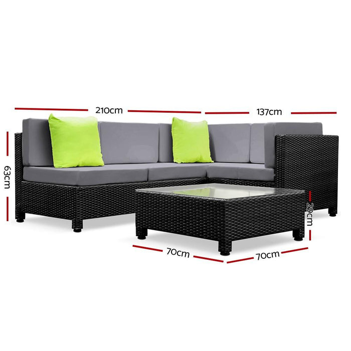 Cuban 5 Piece  Outdoor Lounge Set - Grey