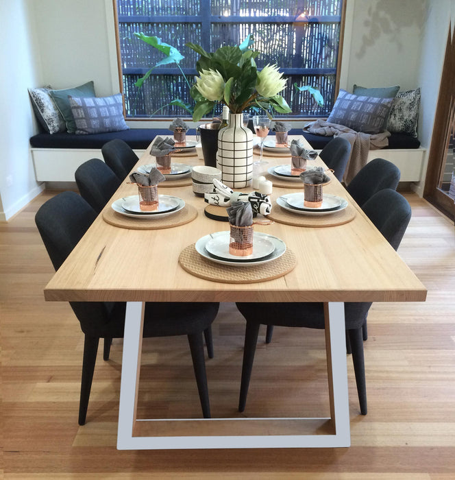 Custom Archer 1.8m Victorian Ash Timber Dining Table - White Legs