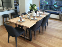 Custom Archer 2.4m Victorian Ash Timber Dining Table - Black Legs