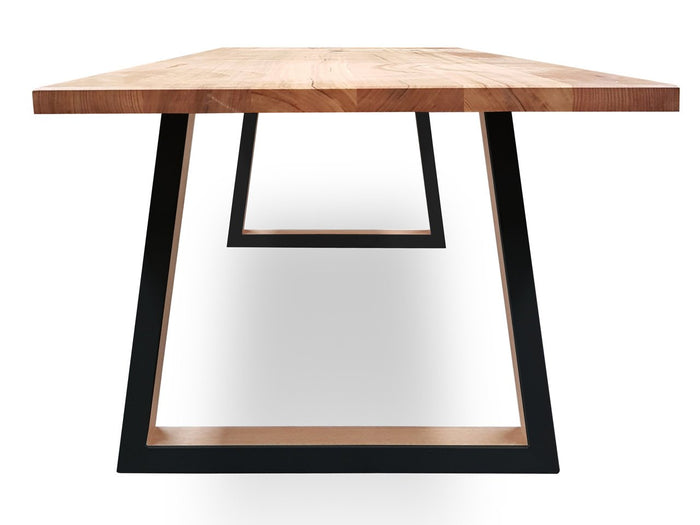 Custom Archer  3m Victorian Ash Timber Dining Table - Black Legs