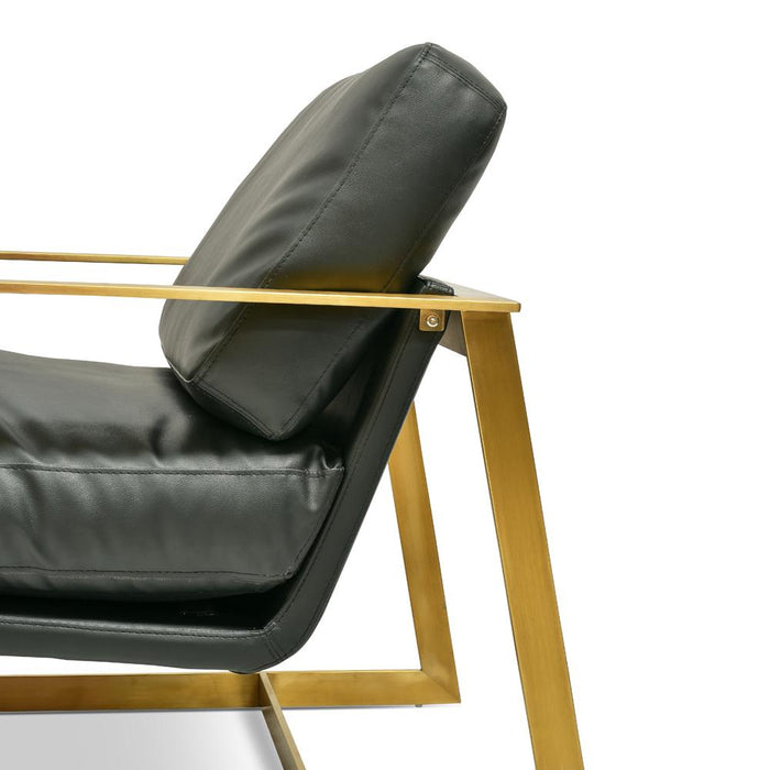 Daisy  Armchair - Black PU - Gold Base
