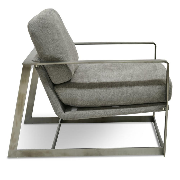 Daisy Fabric Armchair - Coin Grey - Silver Base