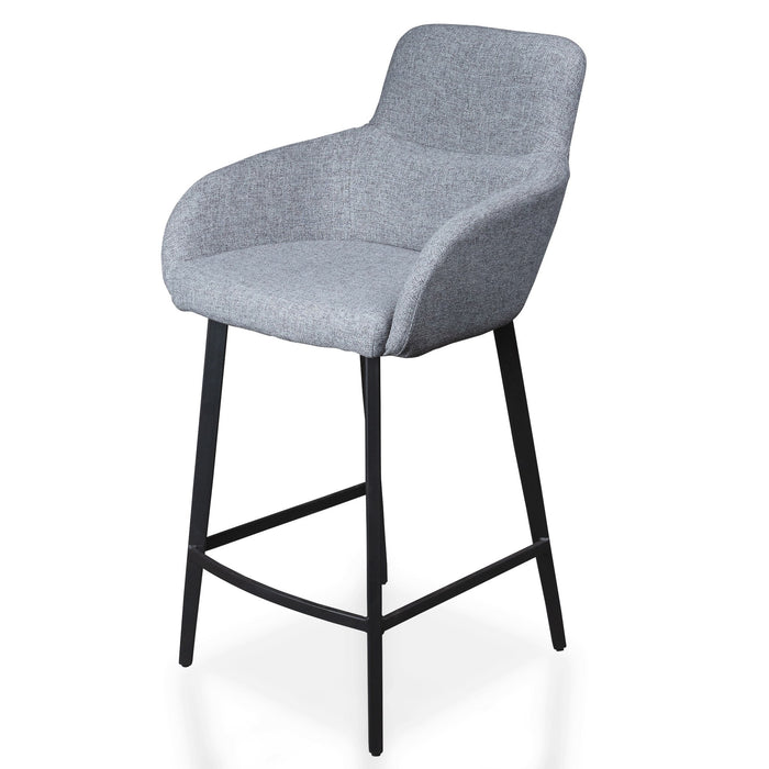 Dario 65cm Fabric Bar Stool - Pebble Grey in Black Legs