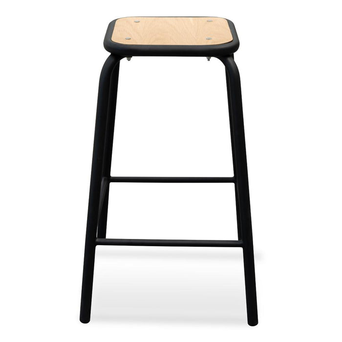 Dawson Bar Stool With Natural Timber Seat - Black Frame