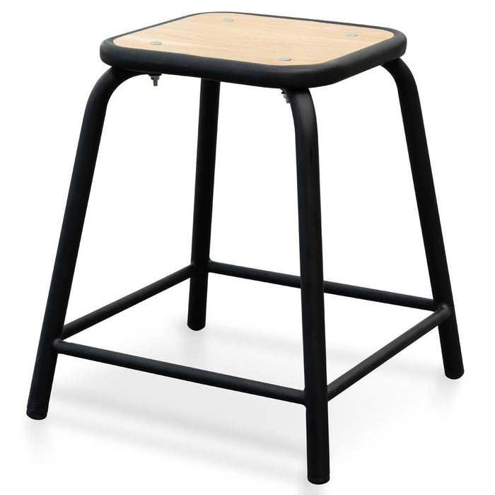 Dawson Low Stool With Natural Timber Seat - Black Frame