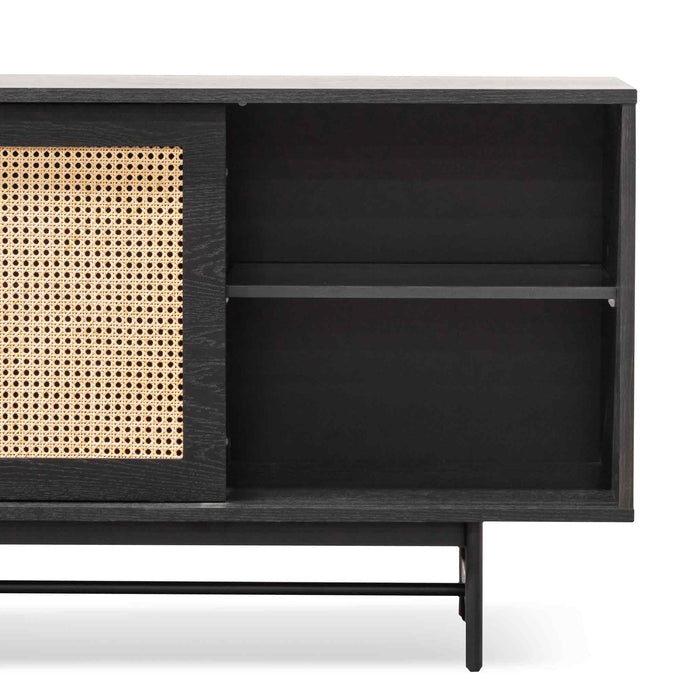 Debora Oak Buffet Unit - Black with Natural Rattan Doors