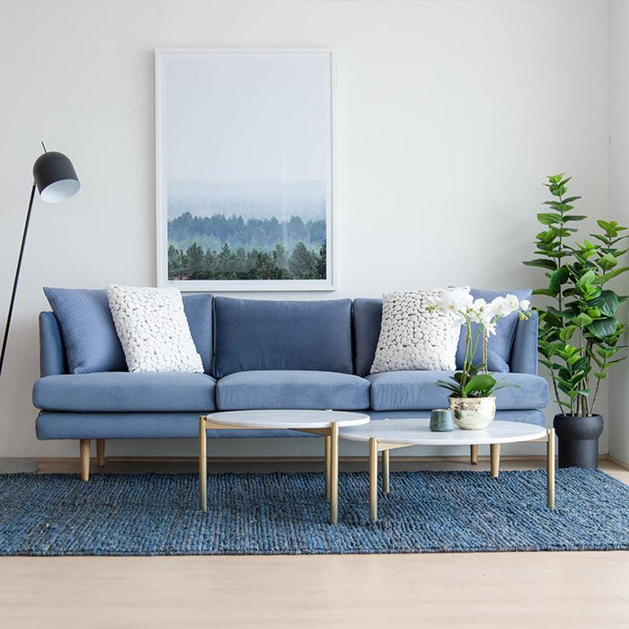 Denmark 3 Seater Fabric Sofa - Dust Blue
