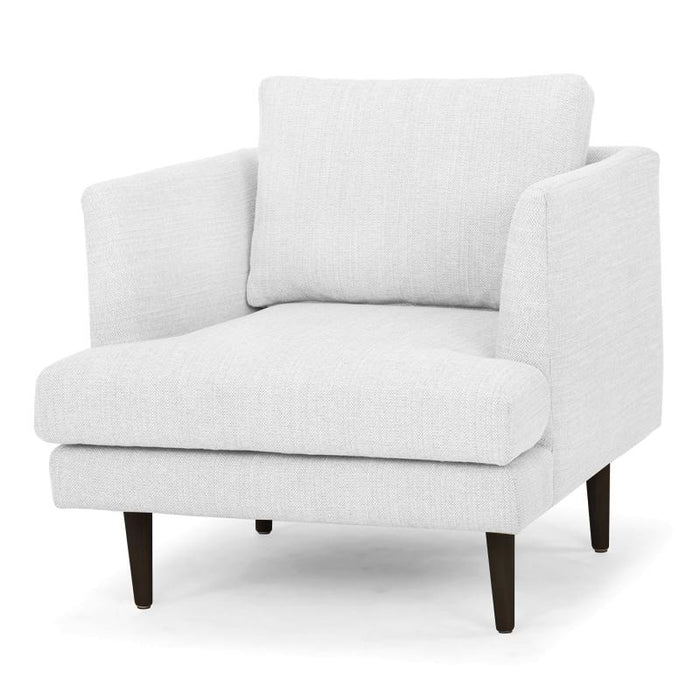 Denmark Fabric Armchair - Light Texture Grey - Black Legs