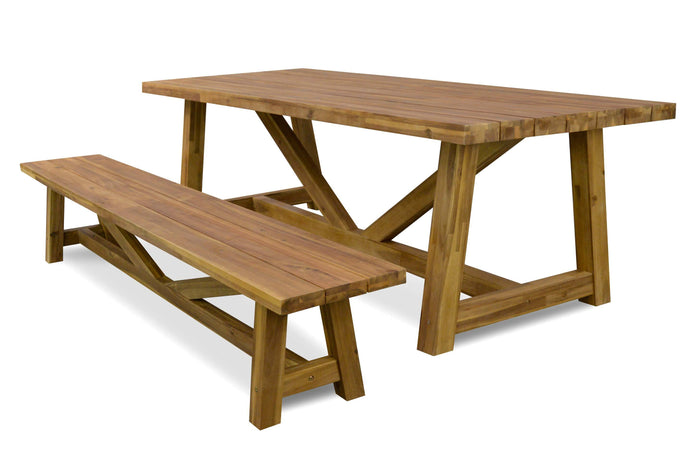 Dixon Outdoor acacia wood 2.5m Dining Table - 78cm (H)