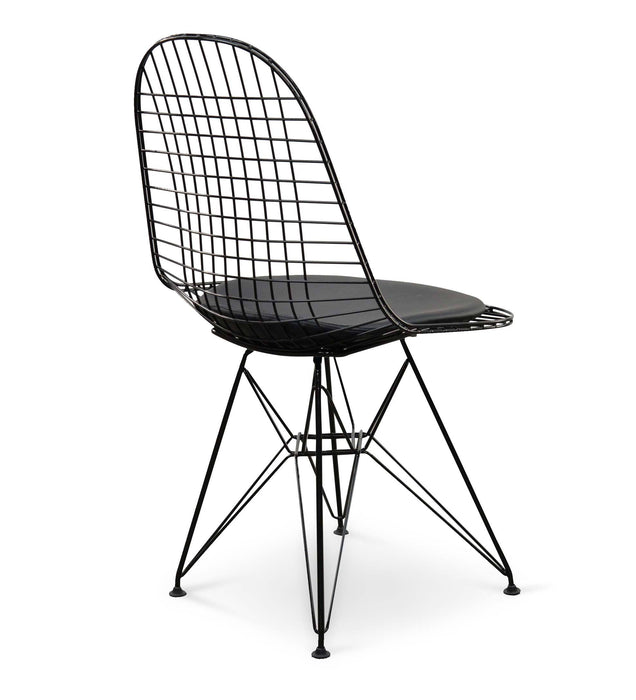 DKR Wire Dining Chair - Eames Replica - Black frame Black Seat