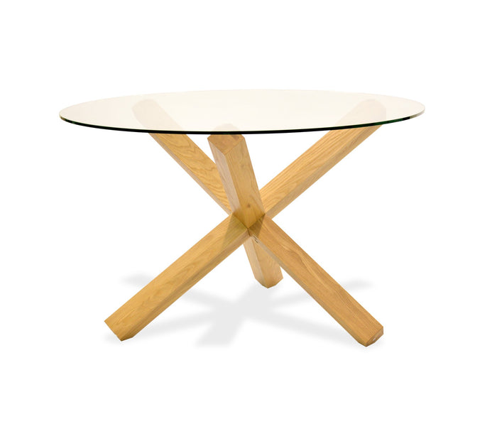 Doreen 1.2m Round Dining Table - Glass Top