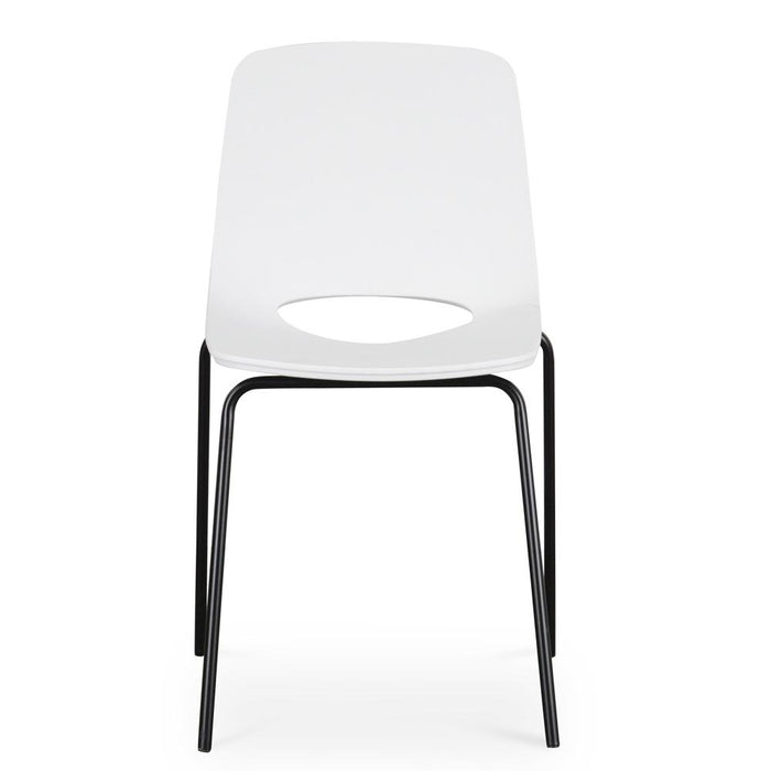Drona Dining Chair - White Seat - Black Legs