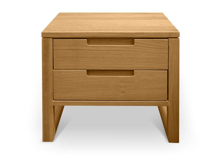 Alfred 2 Drawer Wooden Bedside Table - Natural Oak