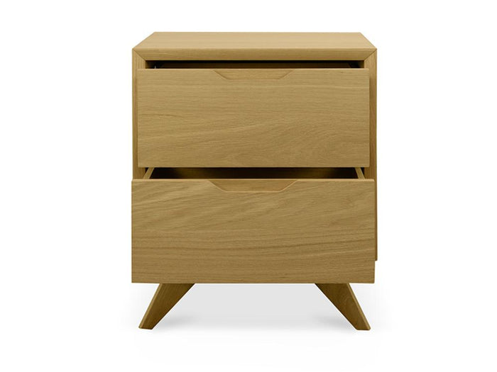 Nora Scandinavian 2 Drawer Wooden Bedside Table