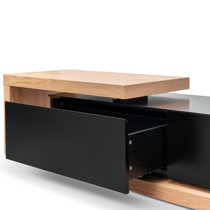 Dwell 2.4m Entertainment TV Unit - Natural Oak - Black matt