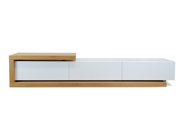 Dwell Scandinavian Lowline 2.4-3.07m TV Entertainment Unit  - Natural - White