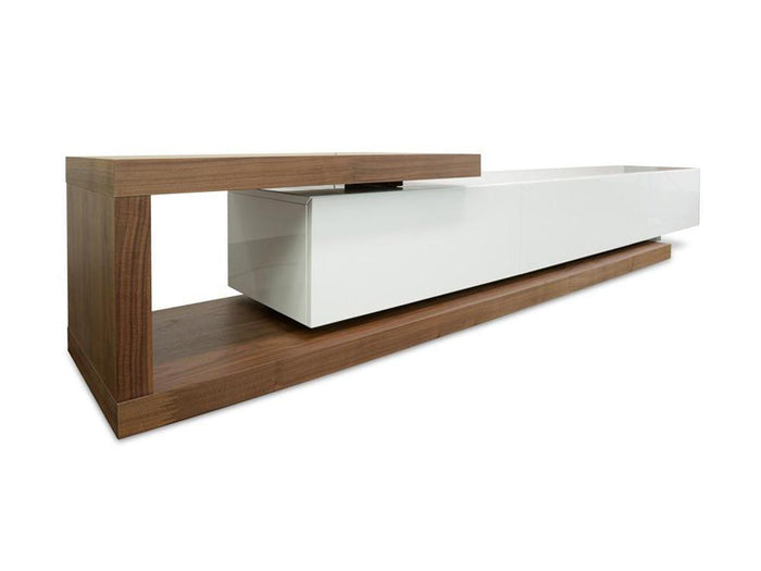 Dwell Scandinavian Lowline TV Entertainment  Unit  - Walnut - White