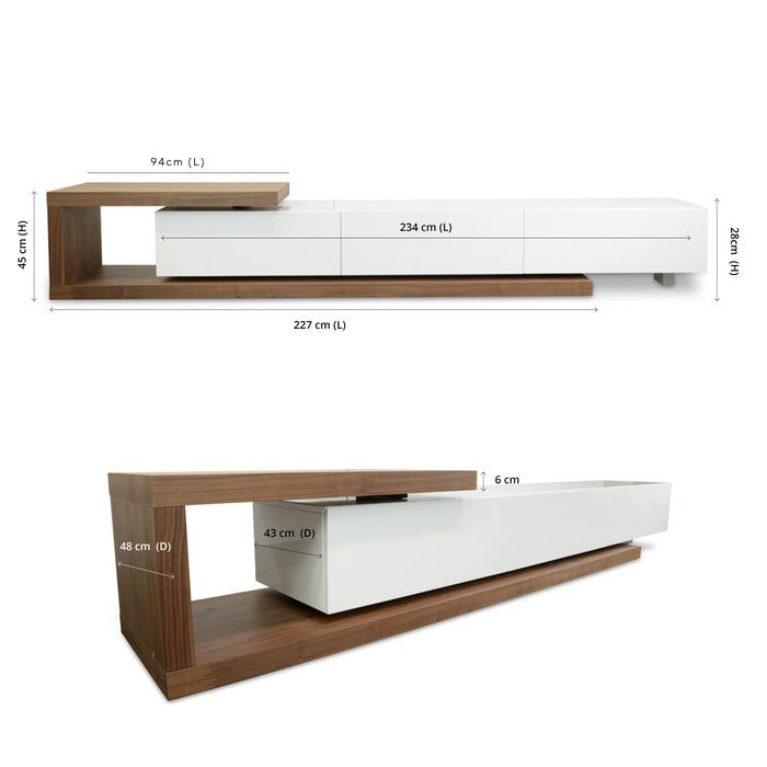 Dwell Scandinavian Lowline 2.4-3.07m TV Entertainment  Unit  - Walnut - White