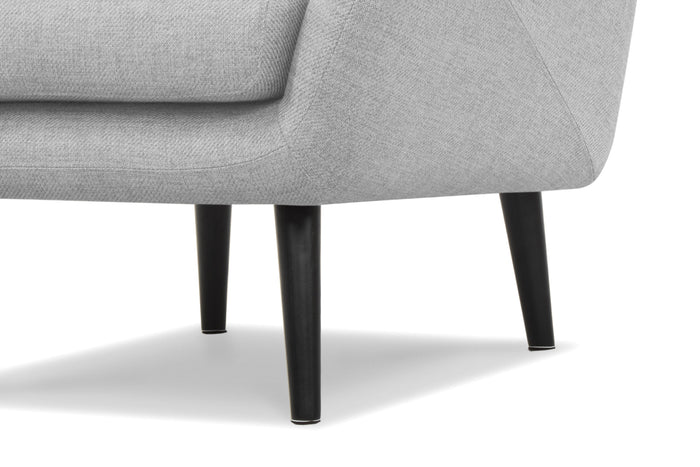 Edmond Fabric Wing Armchair in Light Grey With Black Legs