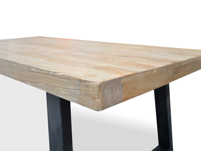 Edwin Reclaimed Elm Wood 2.4m Dining Table - Upgraded Top