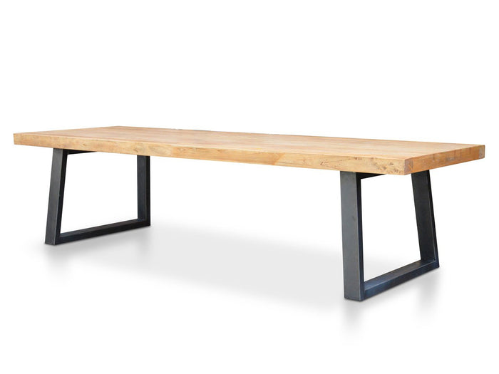 Edwin Reclaimed Elm Wood 3m Dining Table -120cm (W) - Upgraded Top