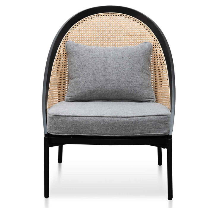 Elba Rattan Back Lounge Chair - Grey Seat and Black Frame