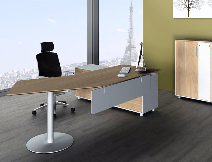 Elite 2.52m Executive Office Desk Left Return - Walnut