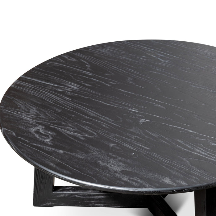 Ellias 1m Round Wooden Coffee Table - Black