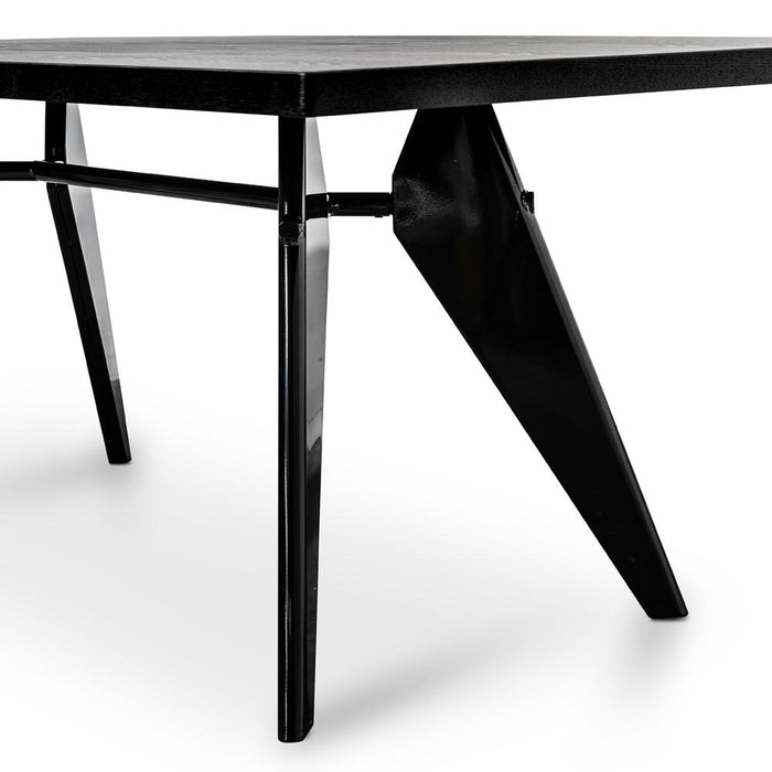 EM 1.9m Dining Table - Replica Jean Prouve - Black Veneer Top - Black Base