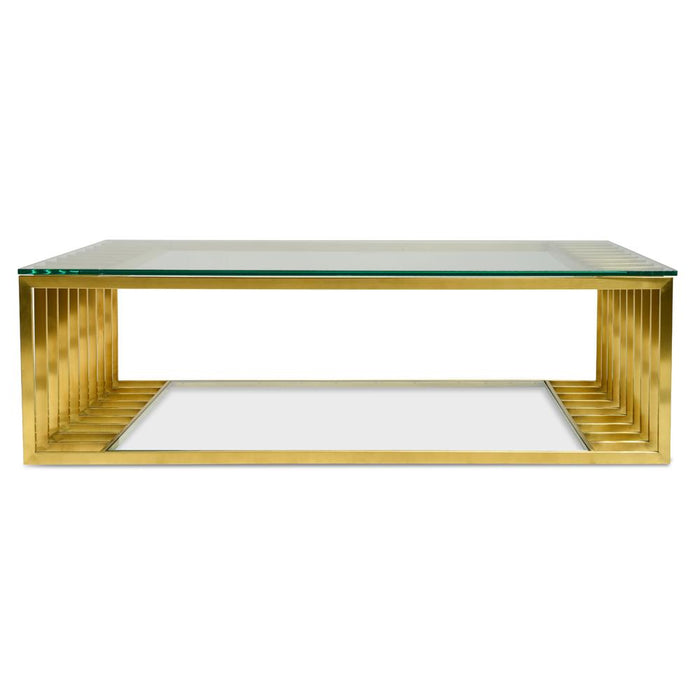 Emma 1.3m Glass Coffee Table - Gold Base