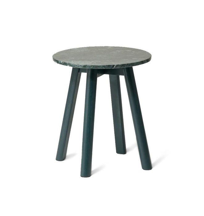 Enkel Oval Marble Side Table - Dark Green