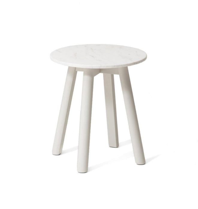Enkel Oval Marble Side Table - Mist White