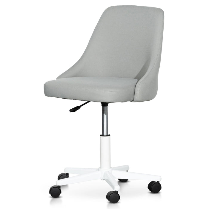 Ernesto Grey Fabric Office Chair - White Base