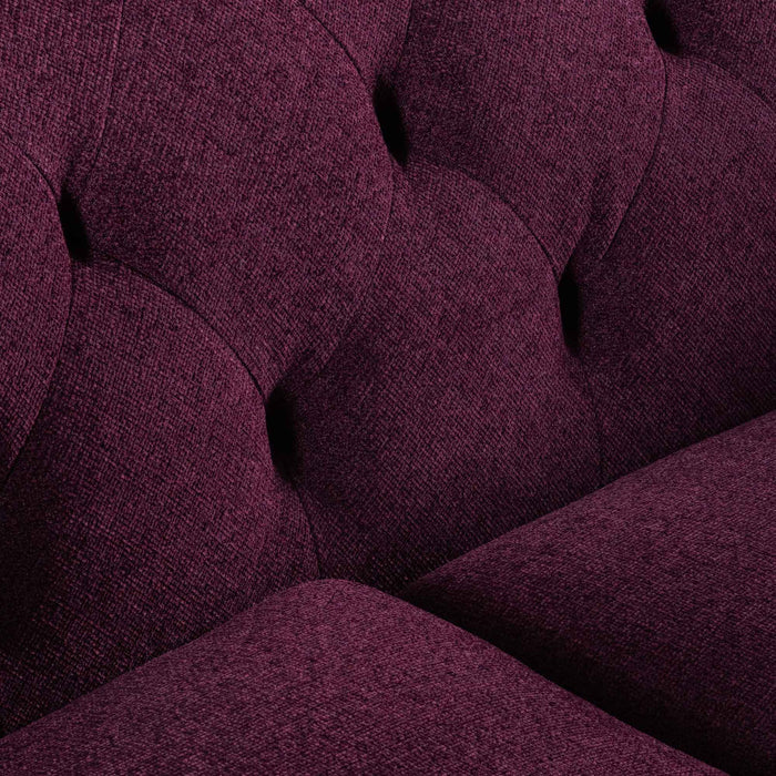 Esther 3 Seater Fabric Sofa - Deep Burgundy with  Black Leg
