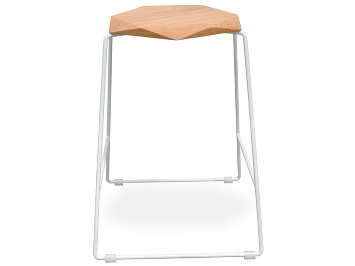 Ex display - Larson Modern Bar Stool - Natural Seat - White Frame