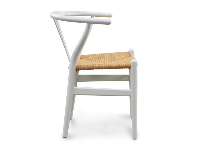 Ex display - Wishbone Cord Dining Chair - Natural Seat - White
