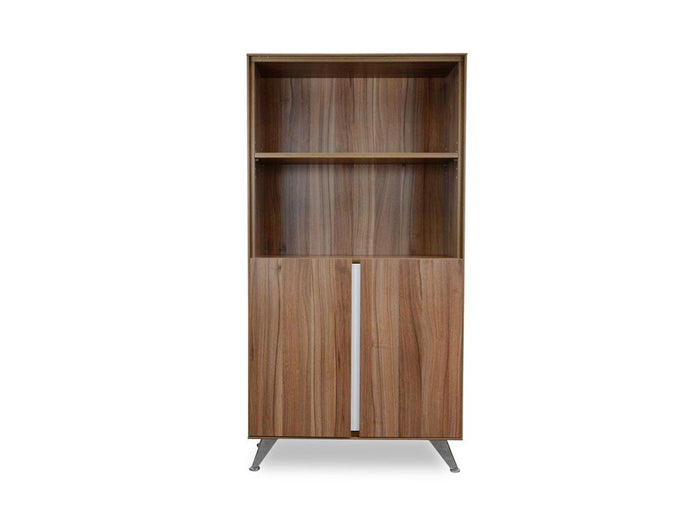 Excel  2 Door Office Cabinet with Bookshelf - Walnut