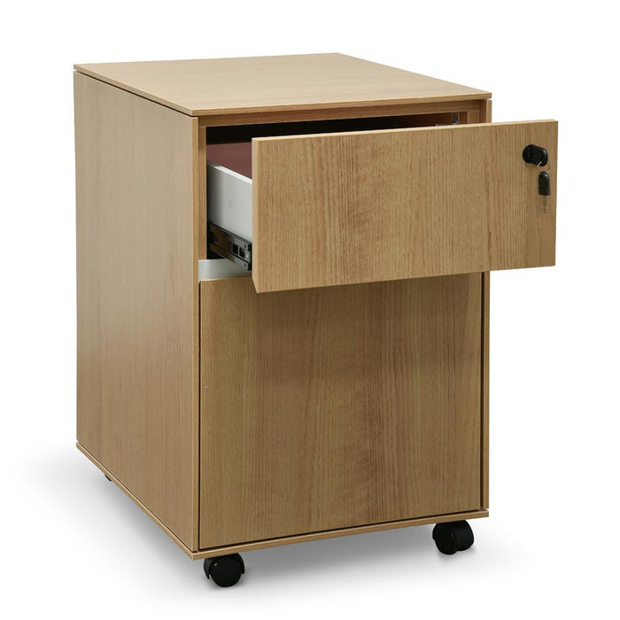 Excel 2 Drawer Mobile Pedestal - Natural