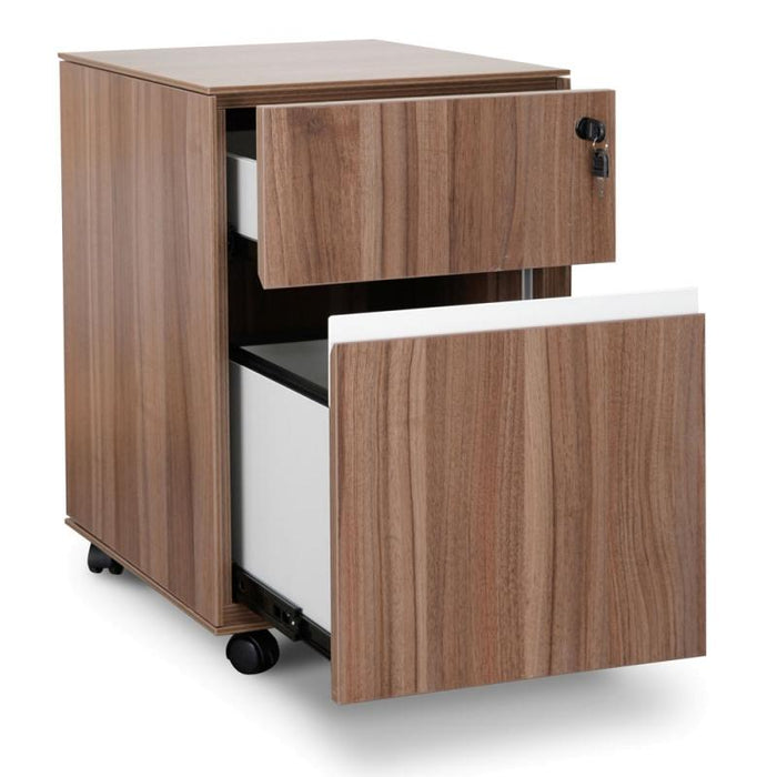 Excel 2 Drawer Mobile Pedestal - Walnut